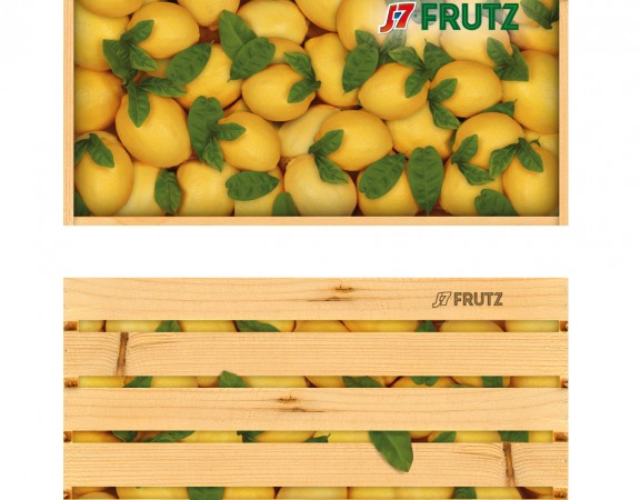 Распрацоўка дызайну ўпакоўкі для кампаніі J7 FRUTZ, скрынка, дызайн, ліманад, лімоны, лісцікі
