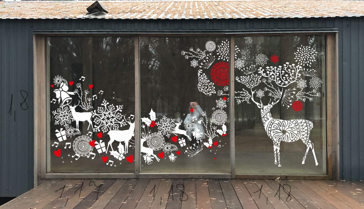 Christmas pasting of glass decoration and design Odintsovo Park 2019